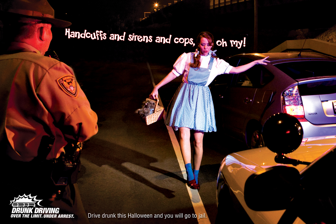 dorothy handcuffs and sirens and cops oh my drive drunk this halloween and